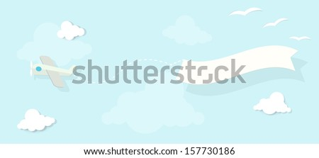 airplane with an advertising banner is flying in the clouds - stock vector