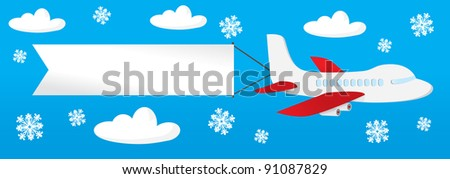 airplane with banners in the sky. - stock vector