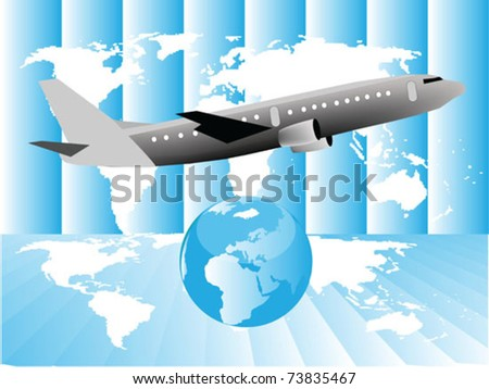 airplane with globe - stock vector