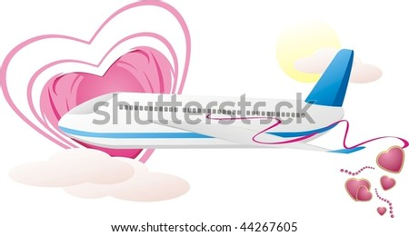 Airplane with hearts. Romance composition. Vector - stock vector