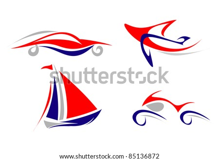 Airplane, Yacht, Car, Motorcycle - set of isolated vector icon on white background. Blue , grey, red. Outline. - stock vector