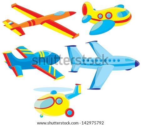 Airplanes and helicopter - stock vector