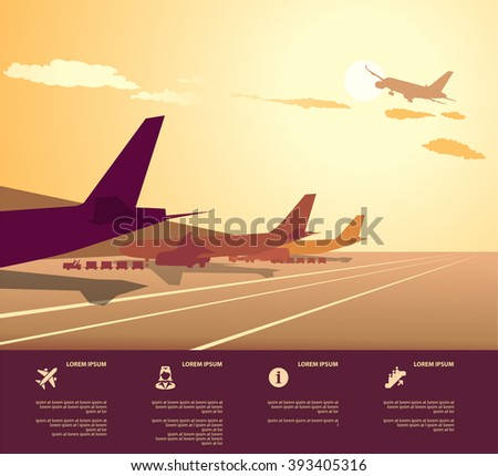 Airplanes at airport during boarding operations. Travel and transportation concepts - stock vector
