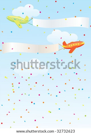 airplanes banners - stock vector