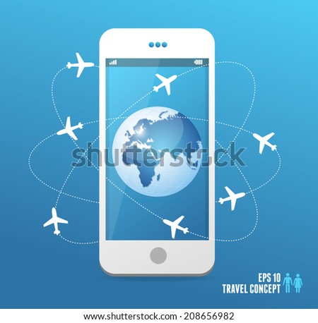Airplanes flying around the globe. Vector travel concept - stock vector