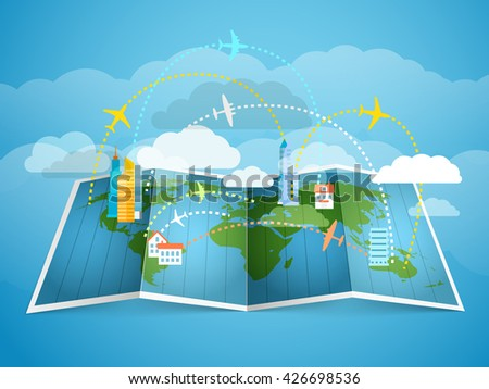 Airplanes flying over the abstract map with modern buildings - stock vector