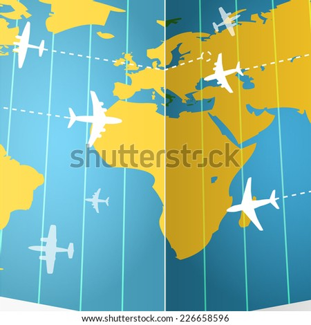 Airplanes flying over the world map  - stock vector