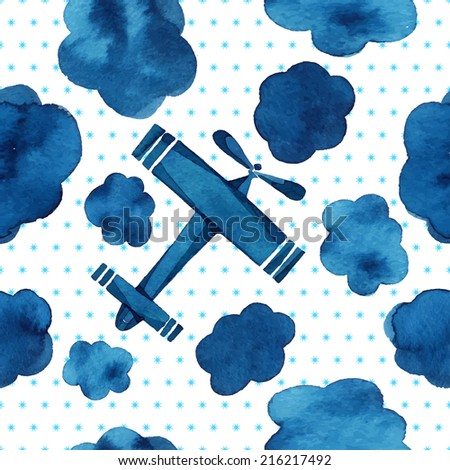 Airplanes, gliders, clouds, sky, small stars, watercolor pattern, seamless background.  - stock vector