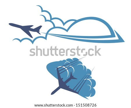 Airplanes in sky for transportation and travel industry design or idea of logo. Jpeg version also available in gallery - stock vector