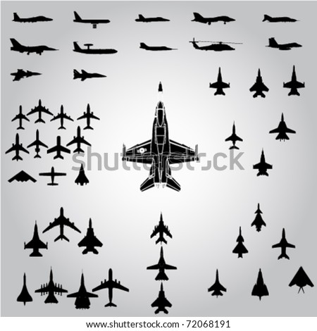 airplanes,military airplanes collection - vector - stock vector