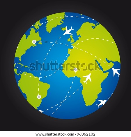 airplanes over  planet with routes over black background. vector