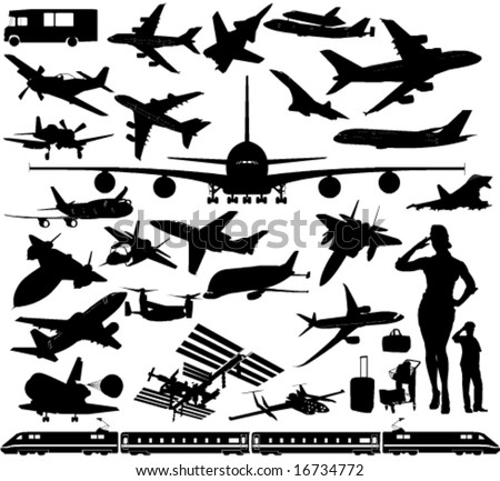 Airplanes, Space Rocket Stations, Train, Car.... in Vector Sihouettes - stock vector
