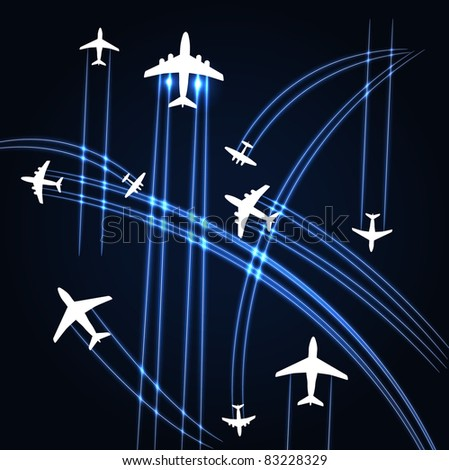 Airplanes trajectories background - stock vector