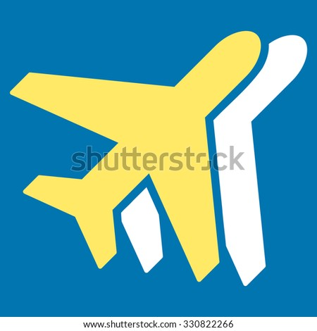 Airplanes vector icon. Style is flat bicolor yellow and white symbol, rounded angles, blue background.