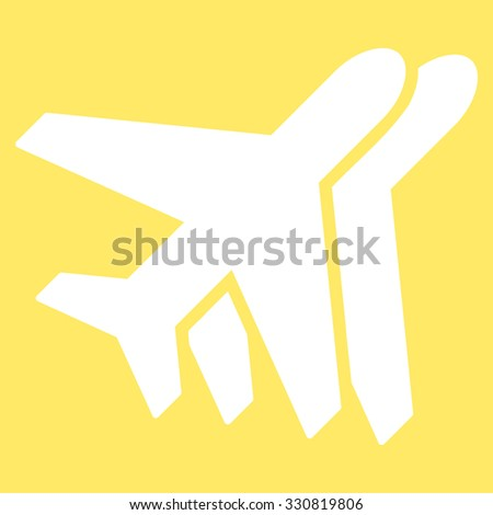 Airplanes vector icon. Style is flat white symbol, rounded angles, yellow background.