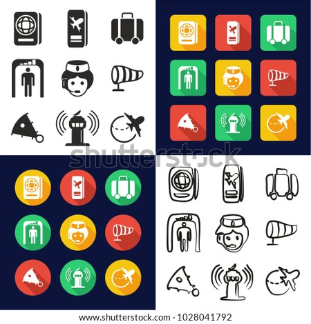 Airport All in One Icons Black & White Color Flat Design Freehand Set
