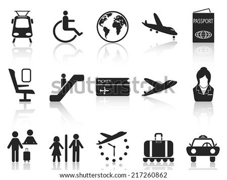 Airport and travel icons set - stock vector