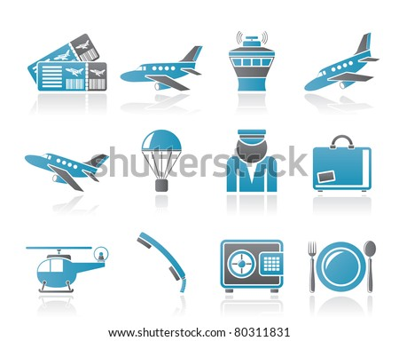 Airport and travel icons - vector icon set - stock vector