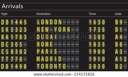 Airport Arrivals Board. Vector - stock vector