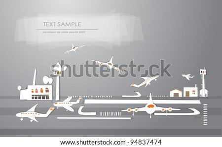 airport background made of stikers - stock vector