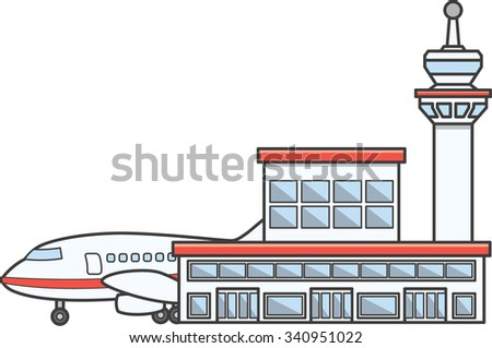 Airport building Doodle Illustration cartoon - stock vector