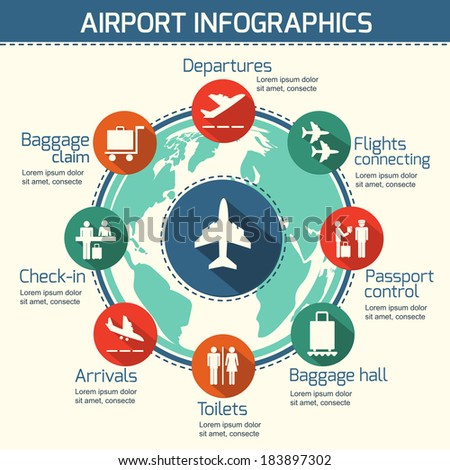 Airport business infographic presentation template concept design world map and airport service icons vector illustration - stock vector