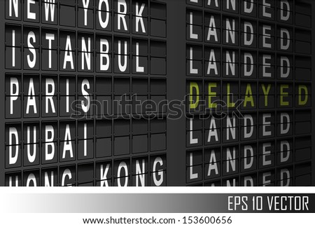 Airport departure display - stock vector