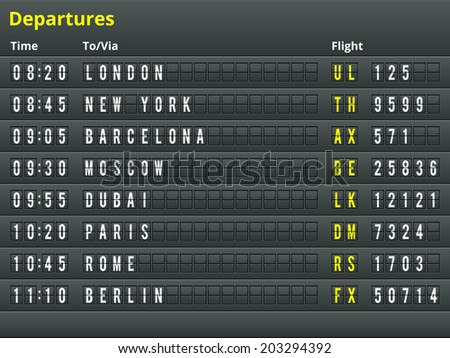 Airport departures table. Vector Illustration for alphabet with letters and numbers. - stock vector