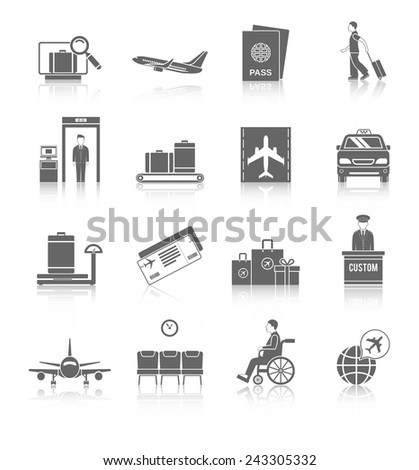 Airport flight terminal passenger security icons black set isolated vector illustration