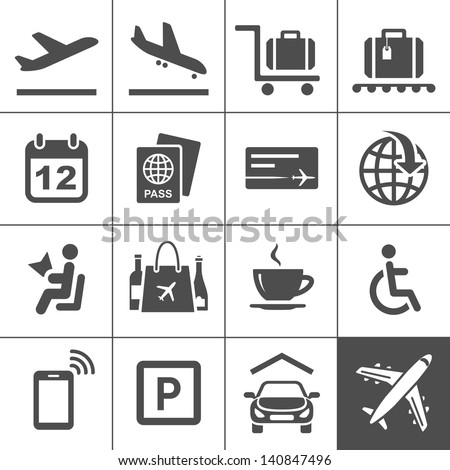 Airport icon set. Universal airport and air travel icons. Simplus series. Vector illustration - stock vector