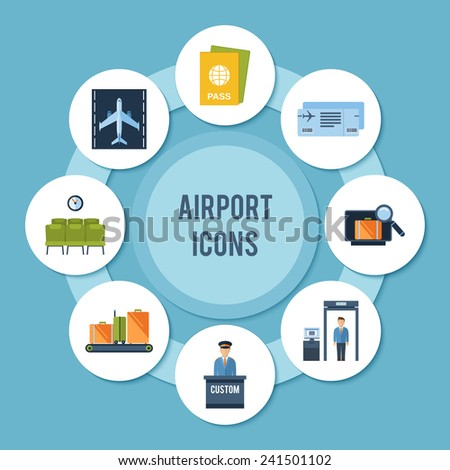 Airport icons decorative paper set with security check passport control tickets vector illustration - stock vector