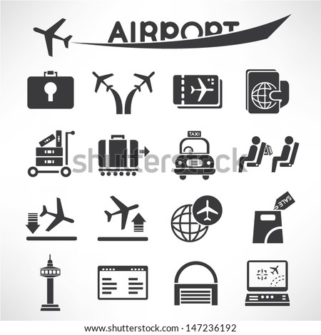 airport icons set, airline icons set, vector - stock vector