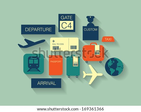 airport icons/ travel icons flat long shadow vector/illustration - stock vector