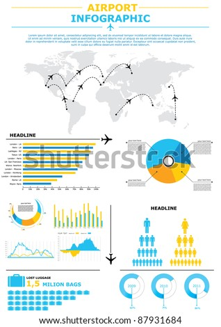Airport infographic vector - stock vector