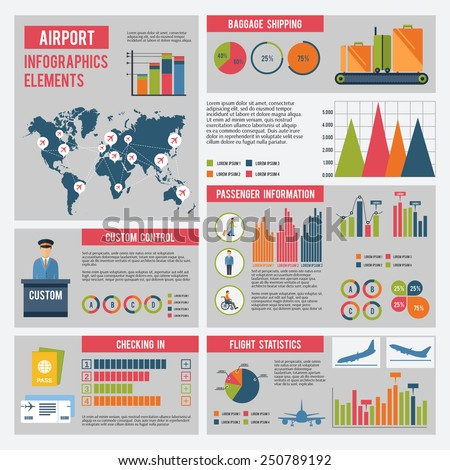 Airport infographics set with flying control elements charts and world map vector illustration - stock vector