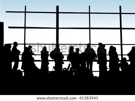 Airport Lounge (vector image fully editable including backdrop colour) - stock vector