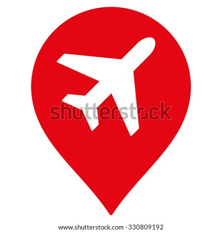 Airport Map Marker vector icon. Style is flat red symbol, rounded angles, white background.