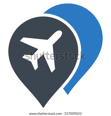 Airport Map Markers vector icon. Style is flat bicolor smooth blue symbol, rounded angles, white background. - stock vector