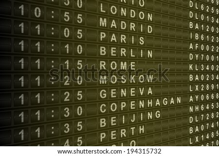 Airport mechanical flight departure board vector illustration