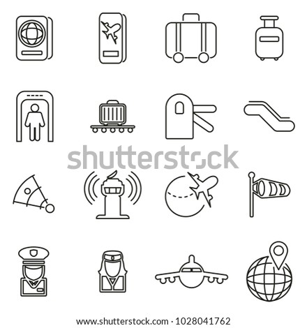 Airport or Airplane Travel Icons Thin Line Vector Illustration Set