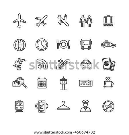 Airport Outline Icon Set Isolated on White Background. Design Elements for Website. Vector illustration