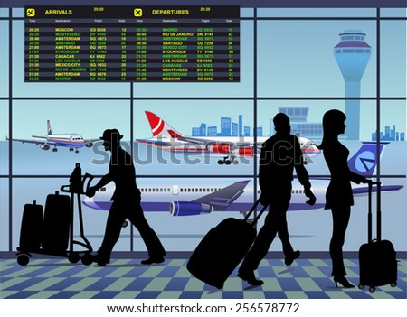 Airport passenger terminal. Board at the airport arrival and dep - stock vector