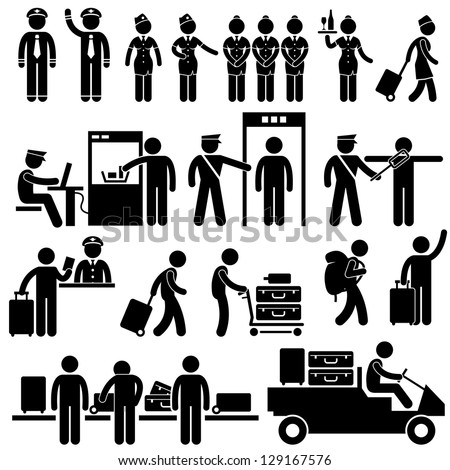Airport Pilot Captain Air Hostess Stewardess Security Officer Foreigner Immigrant Visitor Tourist Passenger Stick Figure Pictogram Icon - stock vector
