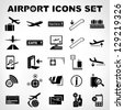airport sign, airport icons set - stock photo