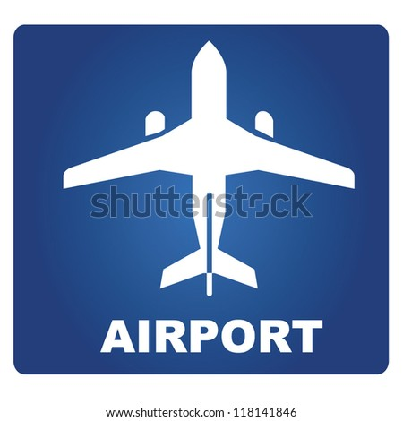 airport signage, plane - stock vector