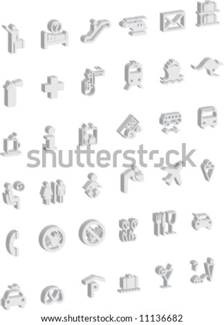 Airport Signs Symbols 3 D Stock Vector Royalty Free 11136682