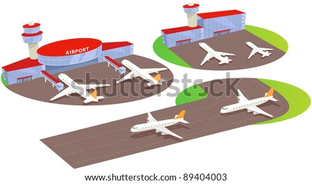 Airport terminal and liner. Fun cartoon map elements. - stock vector