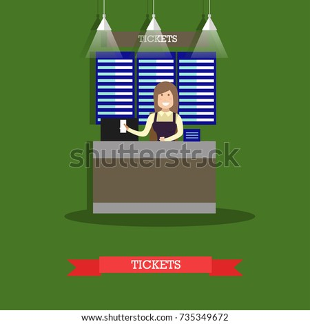 Airport ticket counter concept vector illustration in flat style. Ticket agent flat style design element.