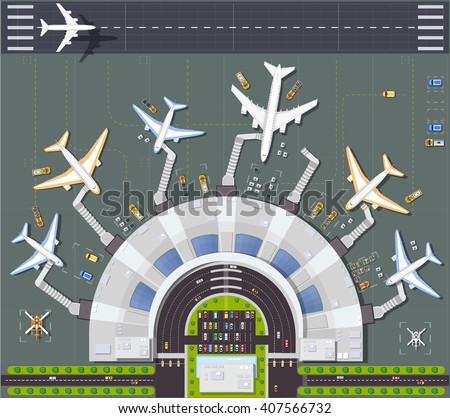 Airport top view  with the aircraft, the terminal building and runway - stock vector