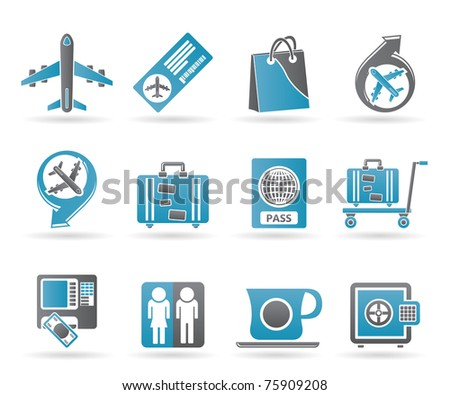 airport, travel and transportation icons 1 - vector icon set - stock vector